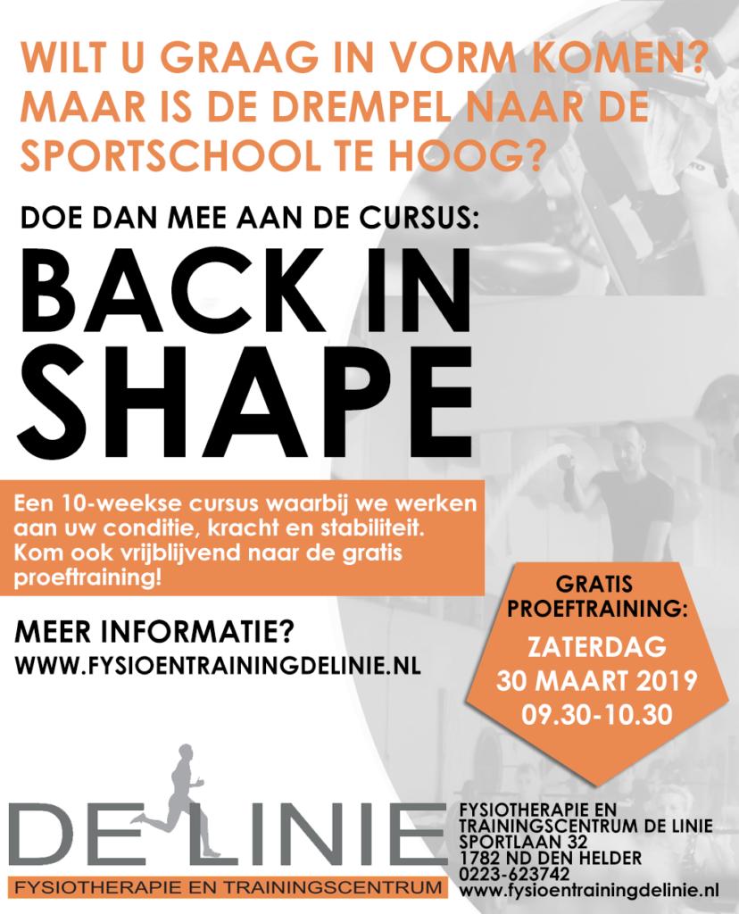 Gratis proeftraining Back in Shape cursus bij De Linie