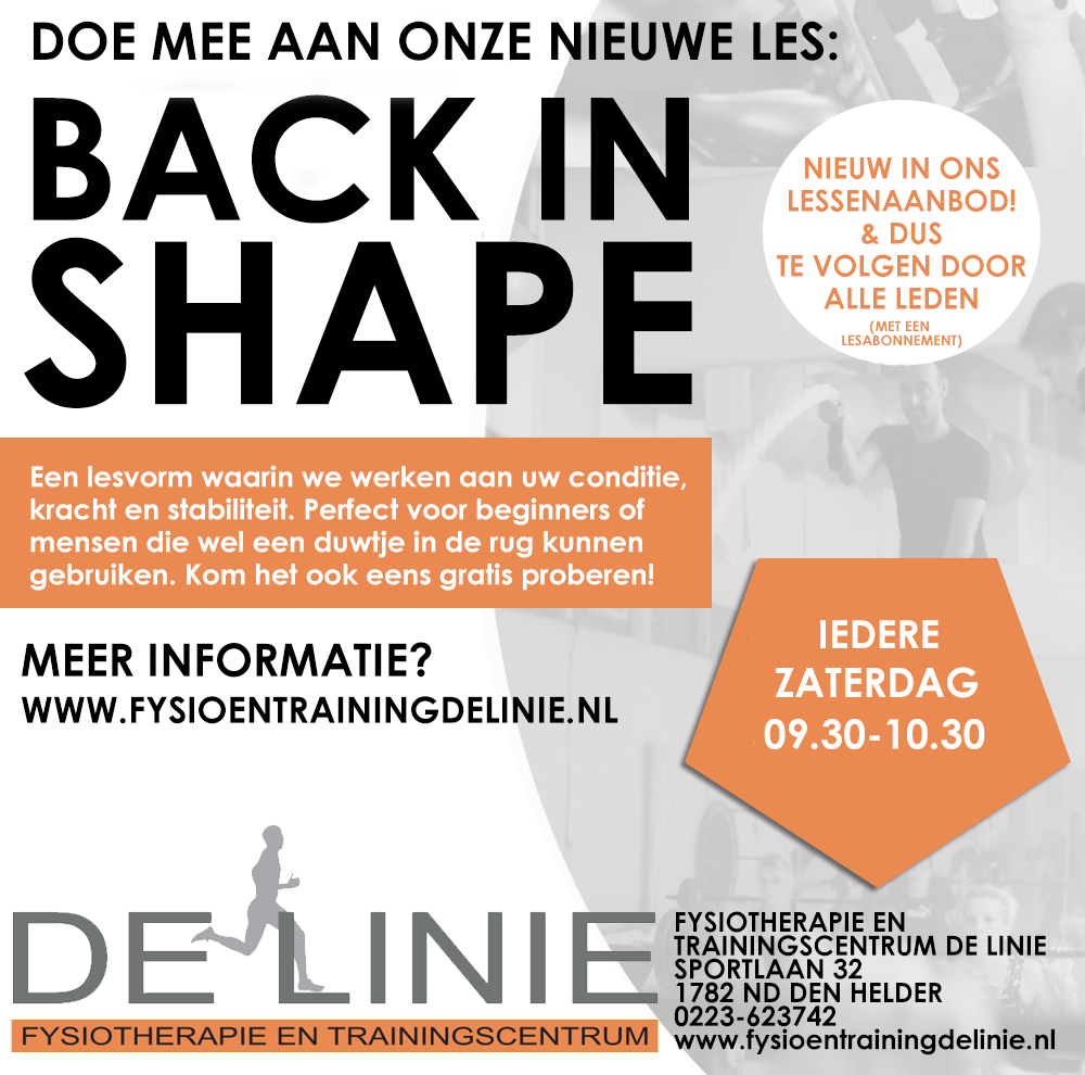 Nieuw in ons lessenaanbod: Back in Shape!